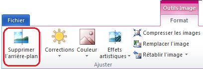 Bouton Supprimer l'arrière-plan sous l'onglet Outils Image > Format dans le ruban d'Office2010