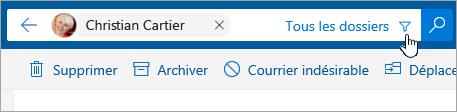 Capture d'écran du bouton Filtrer dans la barre de recherche