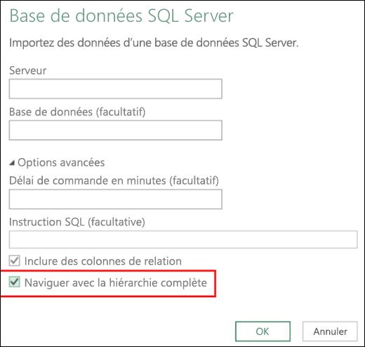 Excel Power BI - Connecteurs de base de données relationnelle améliorés