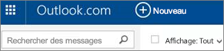 Barre de menus Outlook.com