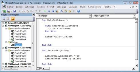 Module qui contient deux macros stockées dans le Module1 du Classeur1