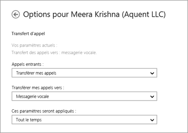 Capture d'écran des options de transfert des appels entrants avec les options de transfert vers la messagerie vocale et d'application permanente