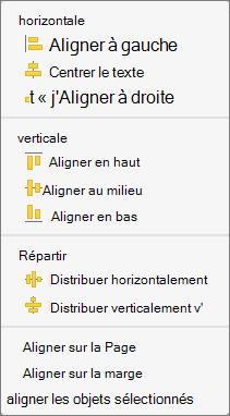 Pour aligner des objets par rapport à une autre, sélectionnez Aligner les objets sélectionnés.
