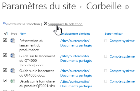 SharePoint 2013 2ème niveau Corbeille avec tous les éléments sélectionnés et supprimer le bouton mis en évidence