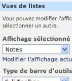 Volet d'outils du composant WebPart avec Tous les éléments sélectionné dans la liste Affichage sélectionné