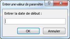 """Invite de paramètre comportant le texte """"Entrez la date de début:"""""""