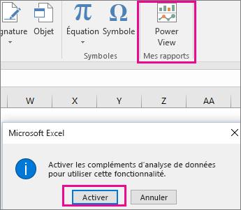 Bouton Vue croisée dynamique personnalisée et boîte de dialogue permettant d'activer le complément dans Excel