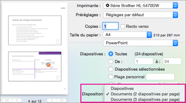 PowerPoint pour Mac Preview - Documents pour impression