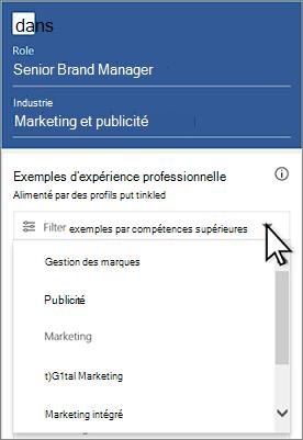 Exemples de filtre par compétences supérieure: cliquez sur le menu déroulant