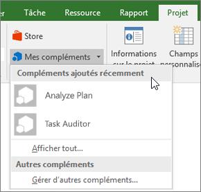 Capture d'écran de l'onglet projet dans le mon zone compléments avec le curseur en regard de la liste déroulante compléments récemment utilisées. Les noms des compléments plusieurs sont affichés, et vous pouvez cliquer sur le nom pour démarrer le complément.