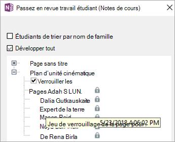 La page étudiant est verrouillée.