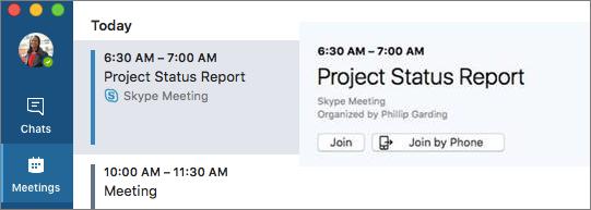Rejoindre la réunion à l'option téléphone sous l'onglet réunions