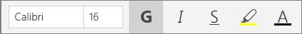 Boutons de mise en forme du texte dans le menu Accueil du ruban de OneNote pour Windows10.