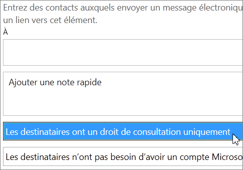 Option Les destinataires peuvent uniquement afficher le contenu, dans la boîte de dialogue Inviter des personnes