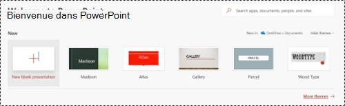 Affichage Bienvenue avec les modèles dans PowerPoint online.