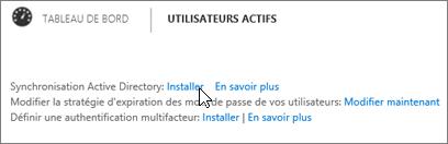 Sélectionnez Configurer en regard de Synchronisation ActiveDirectory