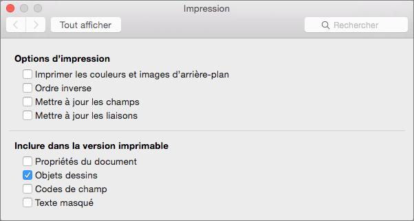 Cliquez sur Options Word pour afficher d'autres options d'impression.