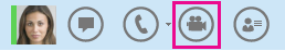 Capture d'écran d'un contact et icône de caméra pour le démarrage d'un appel vidéo