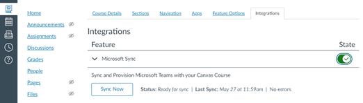 Onglet Intégration avec la fonctionnalité Microsoft Sync