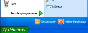 Bouton Démarrer et commande Exécuter dans Windows XP