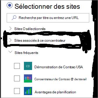 Sélectionnez sites dans le composant WebPart Actualités