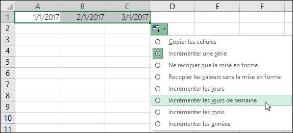 Utilisez la poignée de recopie pour créer une liste des dates séquentielles