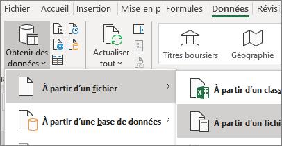 L'option Fichier texte est mise en surbrillance sous l'onglet Données.