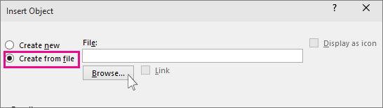 boîte de dialogue Parcourir les fichiers