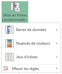 Menu mise en forme conditionnelle dans Excel Web App