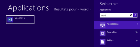Démarrer Office dans Windows 8 ou RT