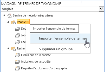 Ensemble de termes importation de liste déroulante