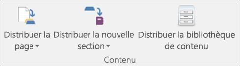Icônes de l'onglet Bloc-notes pour la classe, notamment Distribuer la page, Distribuer la nouvelle section et Distribuer la bibliothèque de contenu.