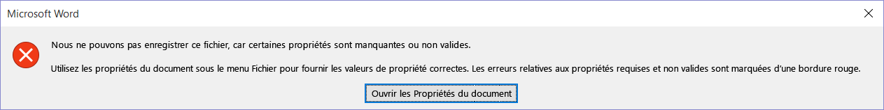 Boîte de dialogue indiquant que le fichier ne peut pas être enregistré.