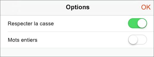 Affiche les options de recherche dans PowerPoint pour iPhone.