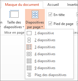 Options Diapositives par page