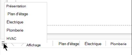 Cliquez sur le bouton de la liste des pages pour afficher et sélectionner dans la liste complète des pages du fichier de dessin actuel.
