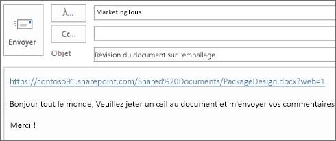 Rédaction d'un courrier électronique incluant un lien