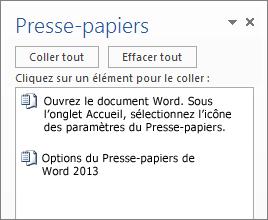 Presse-papiers contenant plusieurs éléments