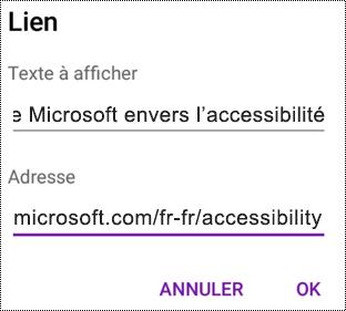 Ajouter une boîte de dialogue Lien hypertexte dans OneNote pour Android