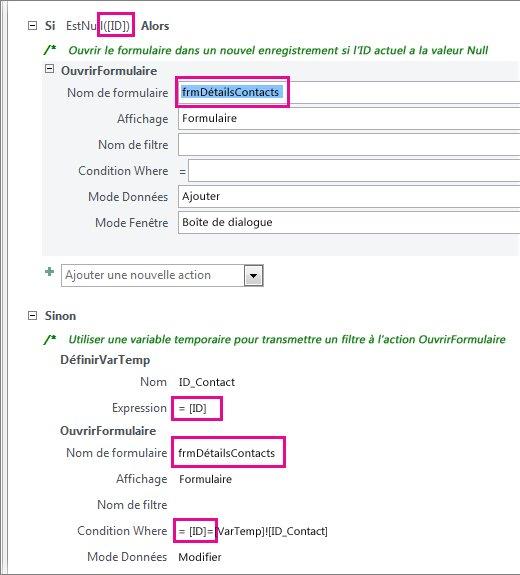 Emplacements où modifier l'exemple de macro pour indiquer les noms de votre bases de données.