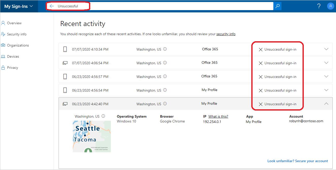 Page Activité récente affichant la barre de recherche mise en évidence, le bouton Rechercher et les résultats
