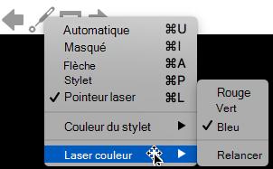 Vous pouvez choisir rouge, vert ou bleu pour la couleur du pointeur laser