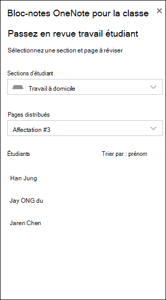 Exemple de capture d'écran des options pour consulter travail étudiant