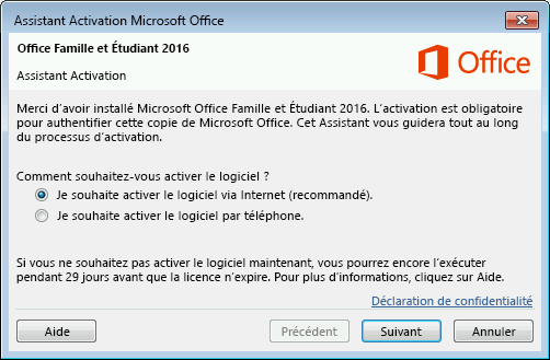Affiche l'Assistant Activation de Microsoft Office