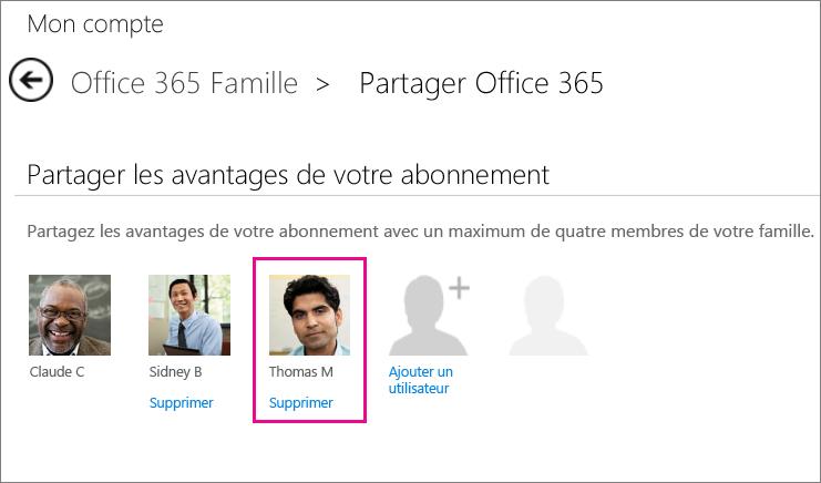 Capture d'écran de la page Partager Office365 avec l'option «Supprimer l'utilisateur» sélectionnée.