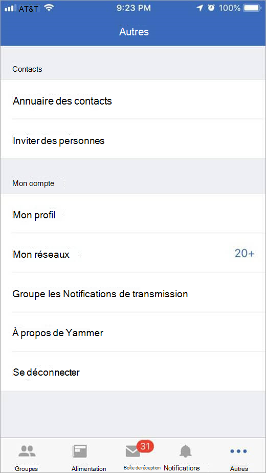 page Yammer d'iOS qui répertorie plus d'options