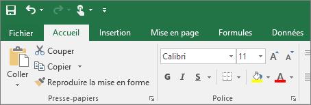 Ruban avec le thème Coloré dans Excel2016