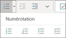 Bouton Liste numérotée dans le menu Accueil du ruban de OneNote pour Windows10.