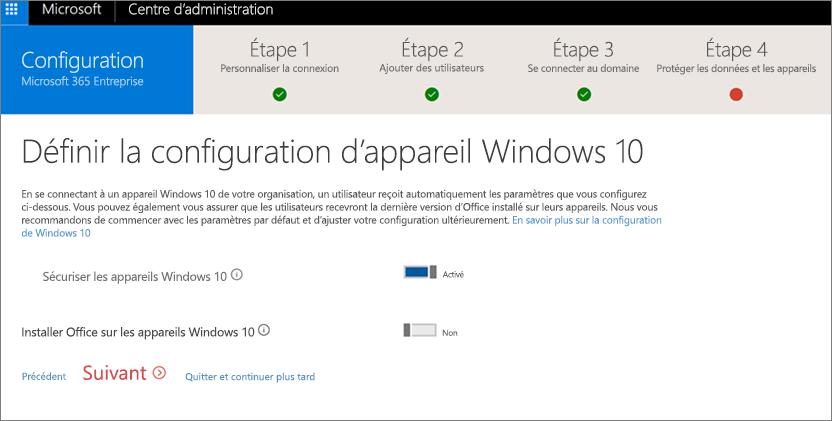 Capture d'écran de la page Préparer des appareils Windows10