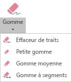 PowerPoint pour Office365 propose quatre gommes différentes pour les entrées manuscrites.